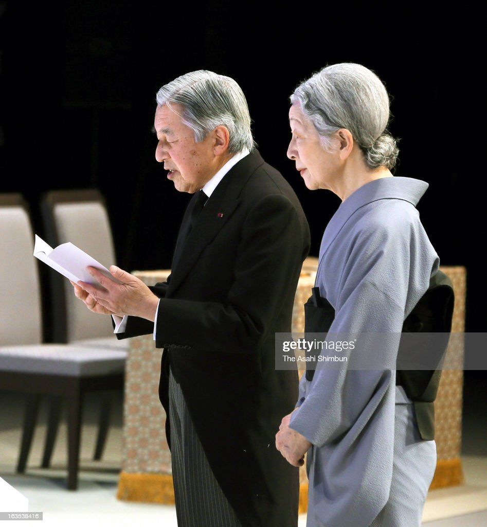 Emperor Akihito and <a gi-track='captionPersonalityLinkClicked' href=/galleries/search?phrase=Empress+Michiko&family=editorial&specificpeople=158725 ng-click='$event.stopPropagation()'>Empress Michiko</a> attend a national memorial service in remembrance of the Magnitude 9.0 Earthquake and tsunami at the National Theatre on March 11, 2013 in Tokyo, Japan. Japan commemorates second anniversary of the Magnitude 9.0 earthquake and subsequent tsunami, that claimed more than 18,000 lives.
