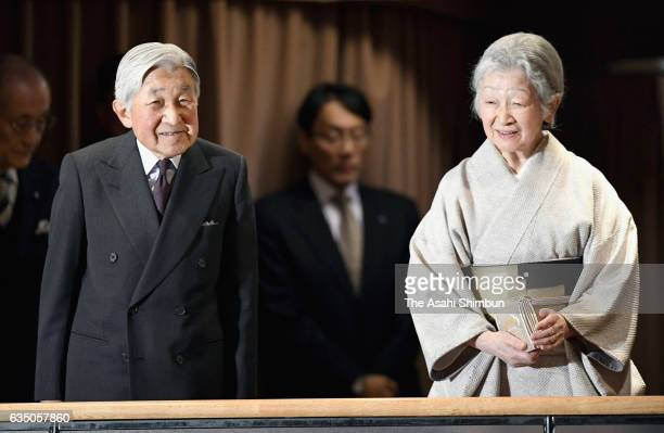 Emperor Akihito and Empress Michiko attend a performance of Bunraku Japanese traditional puppet theatre at the National Theatre on February 13 2017...