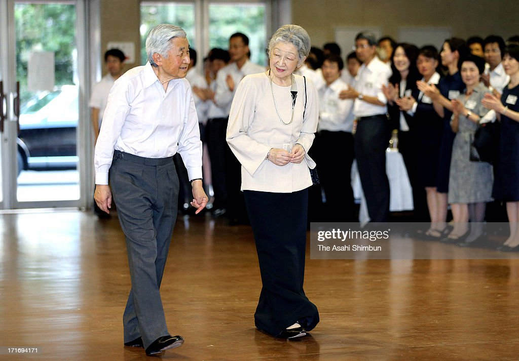 Emperor Akihito and <a gi-track='captionPersonalityLinkClicked' href=/galleries/search?phrase=Empress+Michiko&family=editorial&specificpeople=158725 ng-click='$event.stopPropagation()'>Empress Michiko</a> attend a tea party hosted by the Imperial Household Agency to celebrate Empress' 77th birthday at the Imperial Palace on June 27, 2013 in Tokyo, Japan.