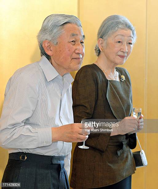 Emperor Akihito and Empress Michiko attend a tea party to celebrate Empress' 77th birthday at Kyoto Imperial Palace on June 22 2013 in Kyoto Japan...