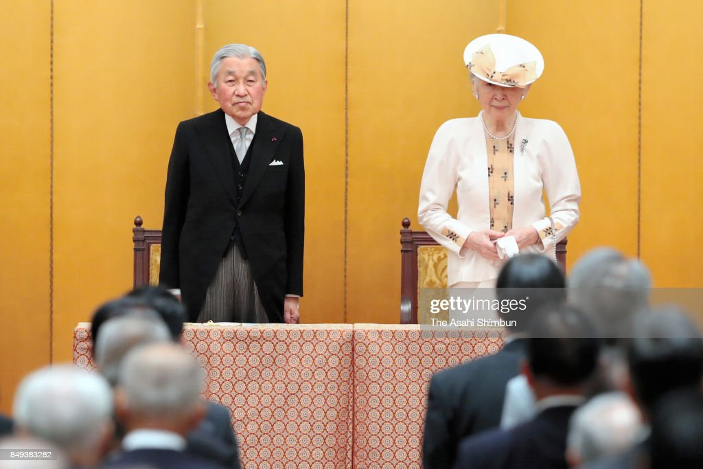 Emperor Akihito and Empress Michiko attend the 70th Anniversary Of the Japan War-Bereaved Families Association Foundation Ceremony at Meiji Kinenkan on September 19, 2017 in Tokyo, Japan.
