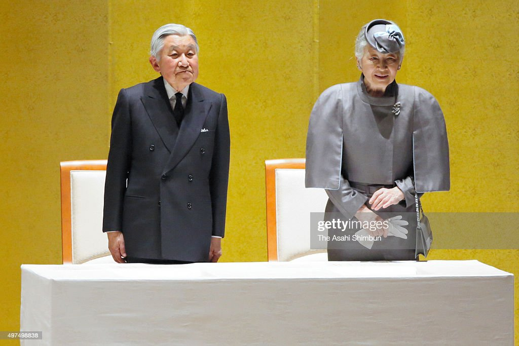 Emperor Akihito and Empress Michiko attend the Commemorative Ceremony to Celebrate the 50th Anniversary of Japan Overseas Cooperation Volunteers at Pacifico Yokohama on November 17, 2015 in Yokohama, Kanagawa, Japan.