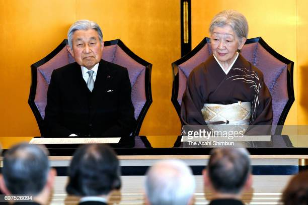 Emperor Akihito and Empress Michiko attend the Japan Art Academy Award Ceremony on June 19 2017 in Tokyo Japan
