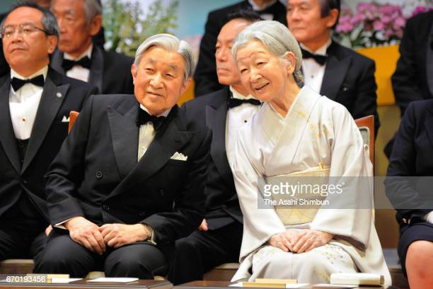 Emperor Akihito and Empress Michiko attend the Japan Prize Award Ceremony at the National Theatre on April 19 2017 in Tokyo Japan