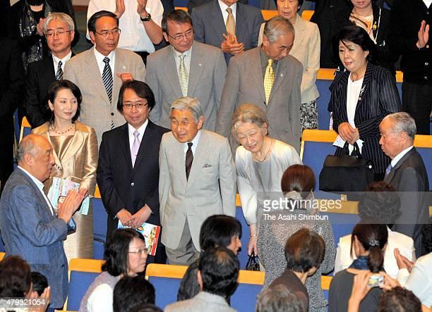 Emperor Akihito and Empress Michiko attend the Kusatsu International Summer Music Academy Festival on August 27 2011 in Kusatsu Gunma Japan