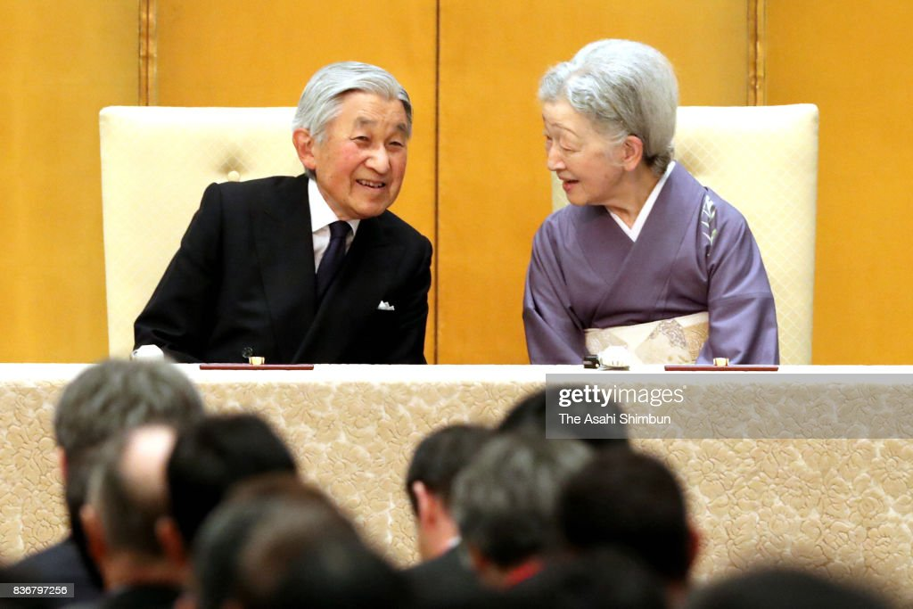 Emperor Akihito and Empress Michiko attend the opening ceremony of the 24th Congress of the International Commission for Optics on August 21, 2017 in Tokyo, Japan.