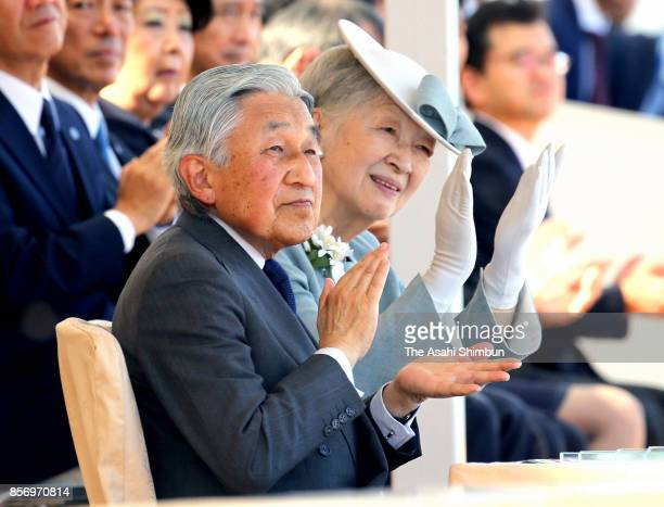 Emperor Akihito and Empress Michiko attend the opening ceremony of the National Sports Festival at Ningineer Stadium on September 30 2017 in...