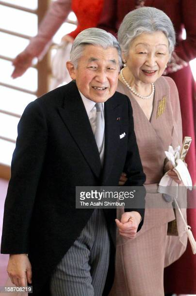 Emperor Akihito and Empress Michiko attend the tea ceremony to celebrate his 79th birthday at the Imperial Palace on December 23 2012 in Tokyo Japan