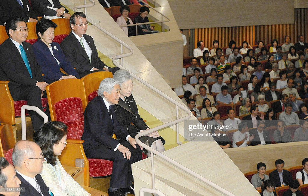Emperor Akihito and <a gi-track='captionPersonalityLinkClicked' href=/galleries/search?phrase=Empress+Michiko&family=editorial&specificpeople=158725 ng-click='$event.stopPropagation()'>Empress Michiko</a> attends the cello concert 'Der 12 Cellisten der Berliner Philharmoniker' at Suntroy Hall on July 6, 2014 in Tokyo, Japan.