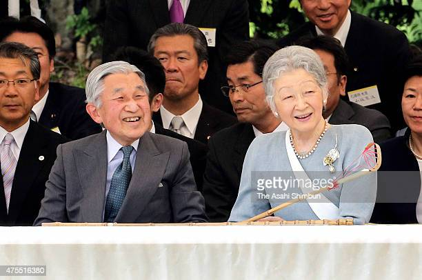 Emperor Akihito and Empress Michiko enjoy the Japanese traditional equestrian to celebrate their 80th birthday at Rachibaba in the Imperial Palace on...