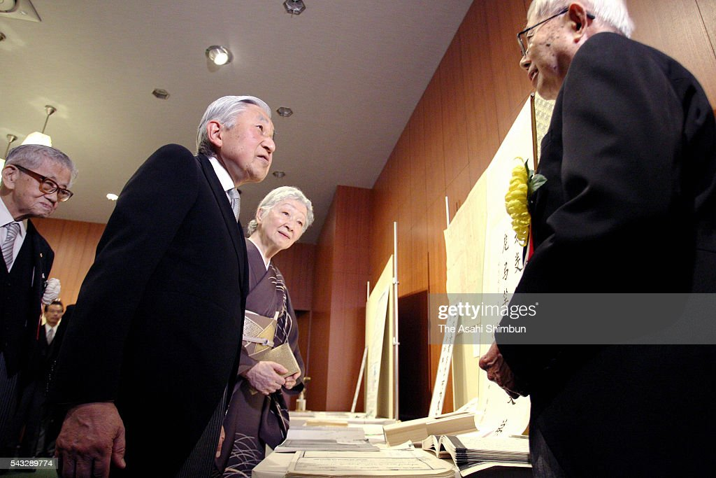 <a gi-track='captionPersonalityLinkClicked' href=/galleries/search?phrase=Emperor+Akihito&family=editorial&specificpeople=14011468 ng-click='$event.stopPropagation()'>Emperor Akihito</a> and <a gi-track='captionPersonalityLinkClicked' href=/galleries/search?phrase=Empress+Michiko&family=editorial&specificpeople=158725 ng-click='$event.stopPropagation()'>Empress Michiko</a> greet a prize winner at the Japan Academy Award at the Japan Academy on June 27, 2016 in Tokyo, Japan.