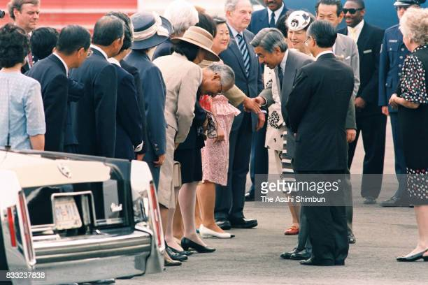 Emperor Akihito and Empress Michiko greet Hisashi Owada the Japanese Ambassador to the United Nations and father of Crown Princess Masako on arrival...