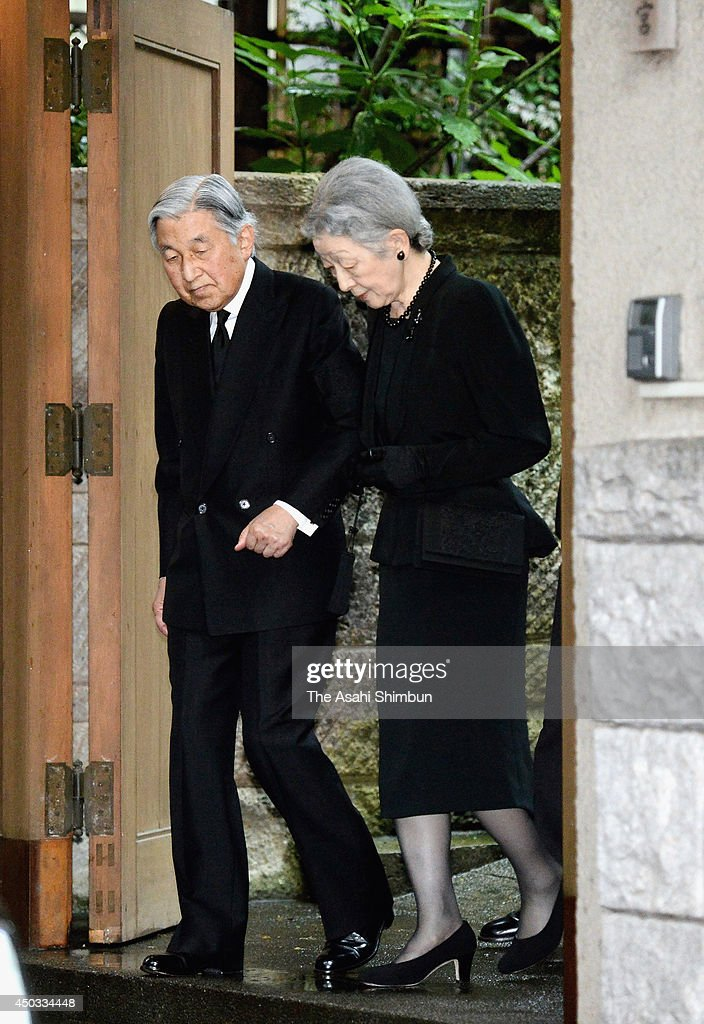 Emperor Akihito (L) and <a gi-track='captionPersonalityLinkClicked' href=/galleries/search?phrase=Empress+Michiko&family=editorial&specificpeople=158725 ng-click='$event.stopPropagation()'>Empress Michiko</a> leave after making a condolence visit to the house of Prince Katsura, or Prince Yoshihito on June 8, 2014 in Tokyo, Japan. The prince, second son of Prince Mikasa and cousin of Emperor Akihito, passed away at the age of 66.