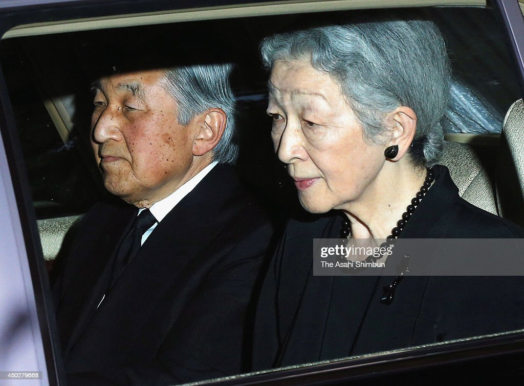 Emperor Akihito (L) and Empress Michiko make a condolence visit to the house of Prince Katsura, or Prince Yoshihito on June 8, 2014 in Tokyo, Japan. The prince, second son of Prince Mikasa and cousin of Emperor Akihito, passed away at the age of 66.