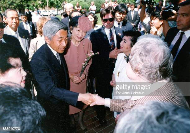 Emperor Akihito and Empress Michiko meet Japanese immigrants at Sakura Square on June 20 1994 in Denver Colorado