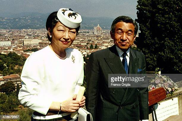 Emperor Akihito and Empress Michiko of Japan pose at Piazzale Michelangelo during their visit to Florence on September 4 1993 in Florence Italy