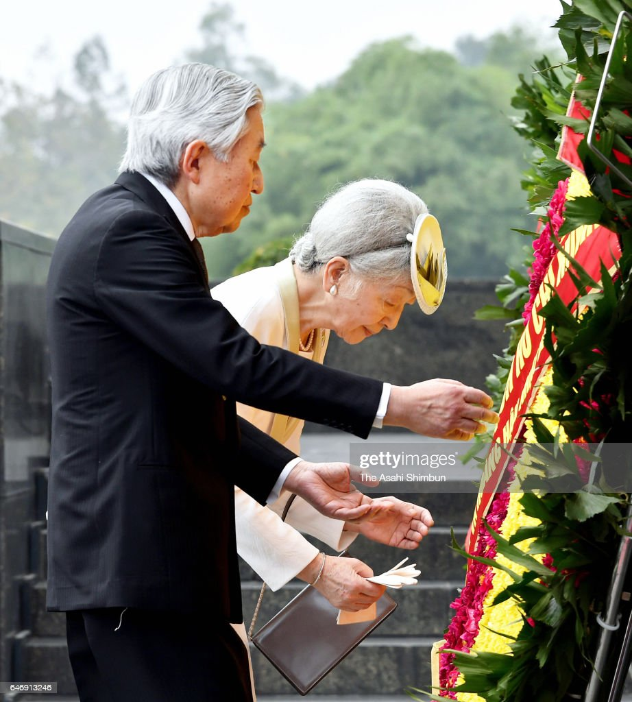 Emperor Akihito and Empress Michiko offer a wreath at Ho Chi Minh Mausoleum during day two of their visit to Vietnam on March 1, 2017 in Hanoi, Vietnam.