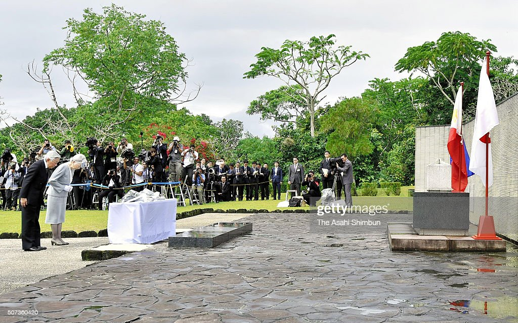 Emperor Akihito and Empress Michiko pay their respects at the cenotaph for Japanese soldiers in the Japanese Memorial Garden on January 29, 2016 in Caliraya, Laguna, Philippines. The 5-day visit, their first since 1962 when they were crown prince and princess, is the latest in a series of trips to mourn wartime victims across the Asia-Pacific region.