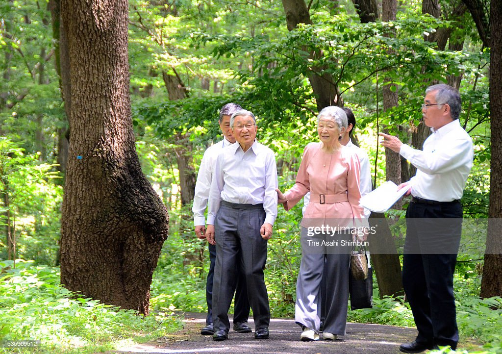 <a gi-track='captionPersonalityLinkClicked' href=/galleries/search?phrase=Emperor+Akihito&family=editorial&specificpeople=14011468 ng-click='$event.stopPropagation()'>Emperor Akihito</a> and Empress Michiko stroll the forest of the Koganei Parkon May 31, 2016 in Koganei, Tokyo, Japan.