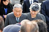 Emperor Akihito and Empress Michiko talk to evacuees from Katsurao village designated as nogo zone of the crippled Fukushima Daiichi Nuclear Power...