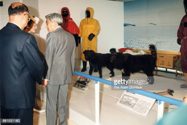 Emperor Akihito and Empress Michiko visit an Antarctica exhibition at the National Science Museum on September 24 1997 in Tokyo Japan