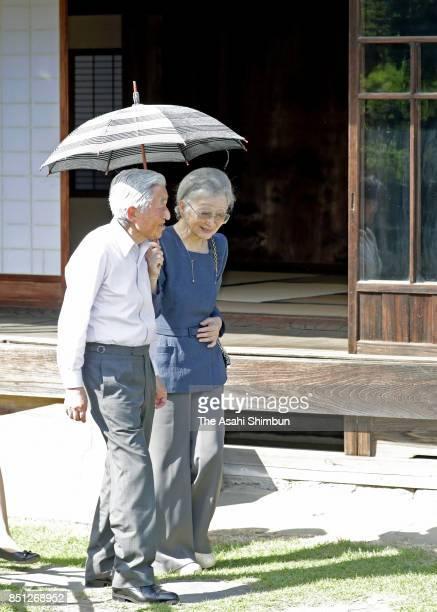 Emperor Akihito and Empress Michiko visit former residence of Shibusawa Eiichi on September 21 2017 in Fukaya Saitama Japan
