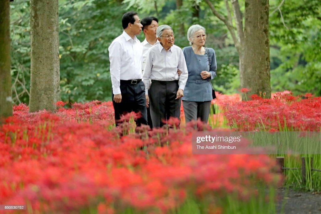 Emperor Akihito and Empress Michiko visit Kinchakuda Manjushage Park on September 20, 2017 in Hidaka, Saitama, Japan.