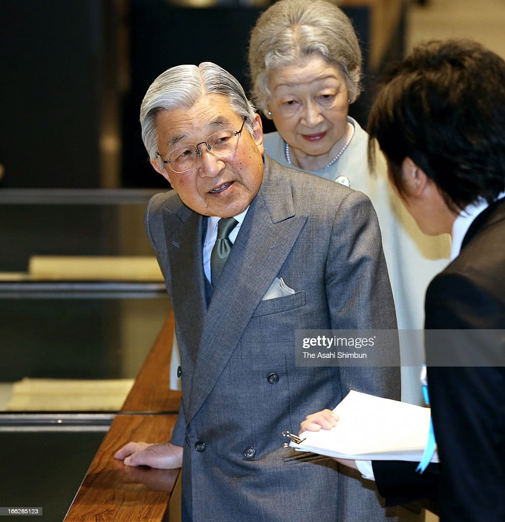 Emperor Akihito and Empress Michiko visit National Archives of Japan on April 10, 2013 in Tokyo, Japan.