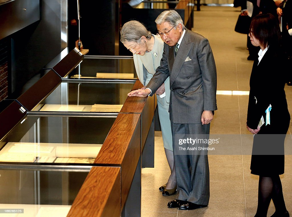 Emperor Akihito and <a gi-track='captionPersonalityLinkClicked' href=/galleries/search?phrase=Empress+Michiko&family=editorial&specificpeople=158725 ng-click='$event.stopPropagation()'>Empress Michiko</a> visit National Archives of Japan on April 10, 2013 in Tokyo, Japan.