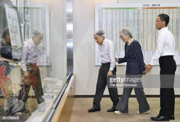 Emperor Akihito and Empress Michiko visit Shibusawa Eiichi Museum on September 21 2017 in Fukaya Saitama Japan