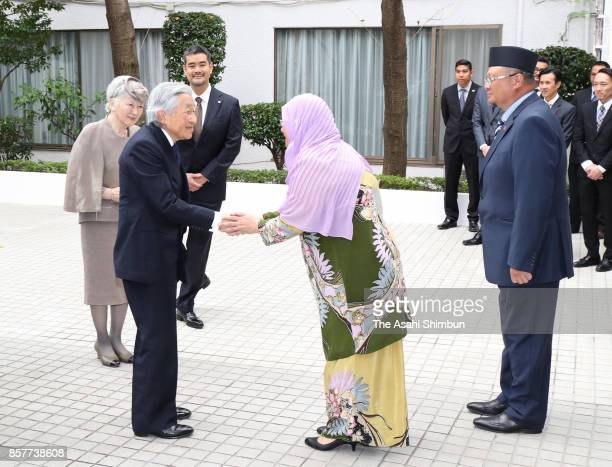 Emperor Akihito and Empress Michiko visit the Brunei Embassy to sing a guest book to mark Brunei's Sultan Hassanal Bolkiah's golden jubilee on...