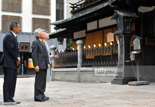 Emperor Akihito and Empress Michiko visit the Dogo Onsen Honkan on October 1 2017 in Matsuyama Ehime Japan