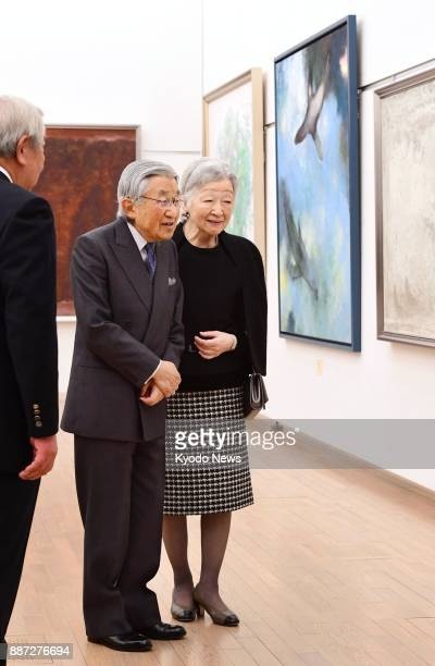 Emperor Akihito and Empress Michiko visit the Japan Fine Arts Exhibition at the National Art Center in Tokyo on Dec 6 2017 ==Kyodo