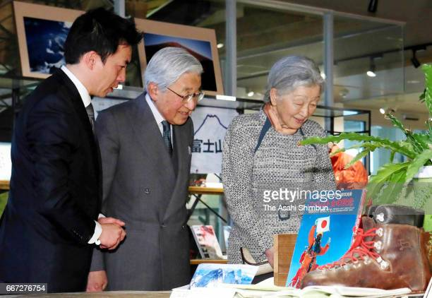 Emperor Akihito and Empress Michiko visit the special memorial exhibition of mountaineer Junko Tabei at Mori Park Outdoor Vilage on March 29 2017 in...