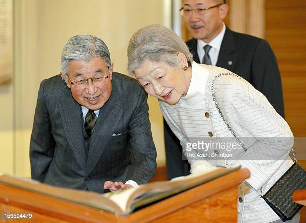 Emperor Akihito and Empress Michiko visits the exhibition 'The John Gould Bird Series' at Tamagawa University Education Museum on January 14 2013 in...