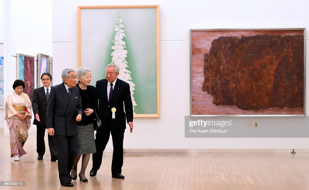 Emperor Akihito and Empress Michiko visits the Japan Fine Arts Exhibition at the National Art Center, Tokyo on December 6, 2016 in Tokyo, Japan.