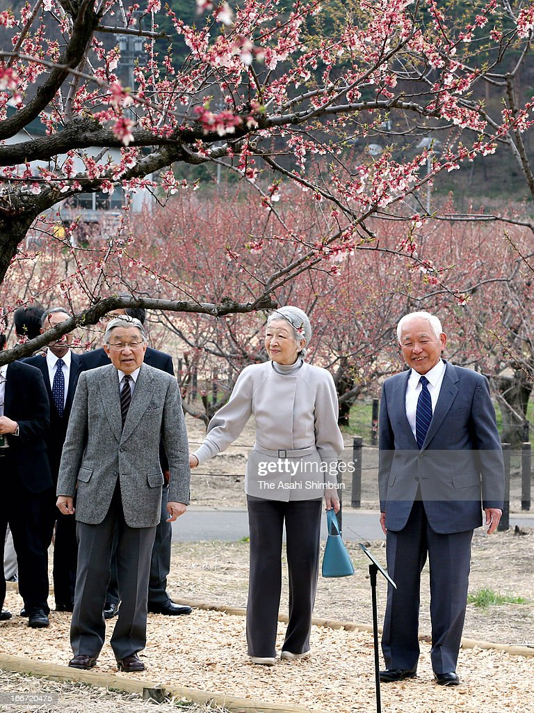 Emperor Akihito and Empress Michiko walk at an apricot farm on April 15, 2013 in Chikuma, Nagano, Japan. This is their private trip planned by the staffs of the Imperial Household Agency, in hope of Emperor and Empress being relaxed away from their busy official duties.
