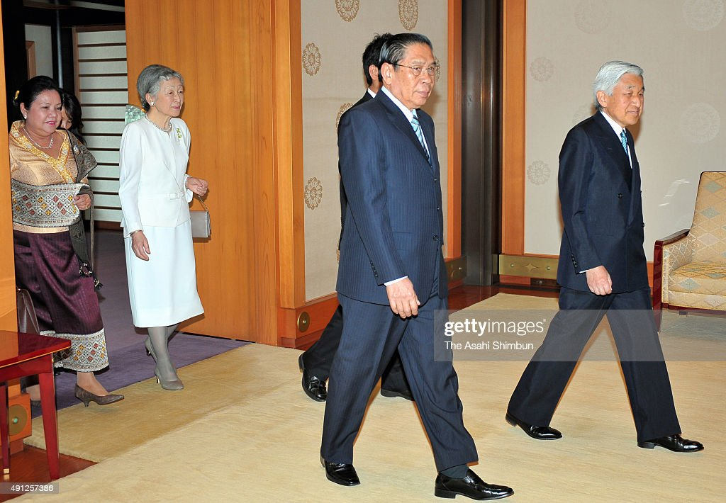 <a gi-track='captionPersonalityLinkClicked' href=/galleries/search?phrase=Emperor+Akihito&family=editorial&specificpeople=14011468 ng-click='$event.stopPropagation()'>Emperor Akihito</a> (1st R) and <a gi-track='captionPersonalityLinkClicked' href=/galleries/search?phrase=Empress+Michiko&family=editorial&specificpeople=158725 ng-click='$event.stopPropagation()'>Empress Michiko</a> (2nd L) welcome Lao President <a gi-track='captionPersonalityLinkClicked' href=/galleries/search?phrase=Choummaly+Sayasone&family=editorial&specificpeople=556173 ng-click='$event.stopPropagation()'>Choummaly Sayasone</a> (2nd R) and his wife Keosaychay Sayasone (1st L) during their meeting at the Imperial Palace on May 23, 2008 in Tokyo, Japan.