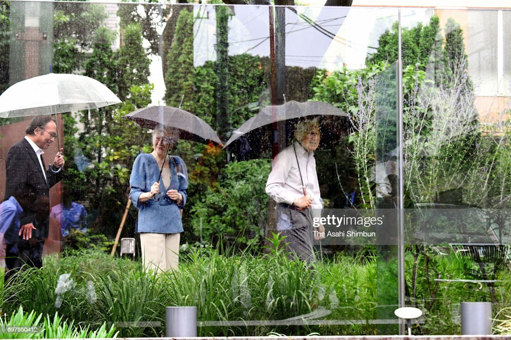 Emperor Akihito and Empress visit the Nemunoki-no-Niwa garden, where the home of parents of the empress used to stand, on June 18, 2017 in Tokyo, Japan.
