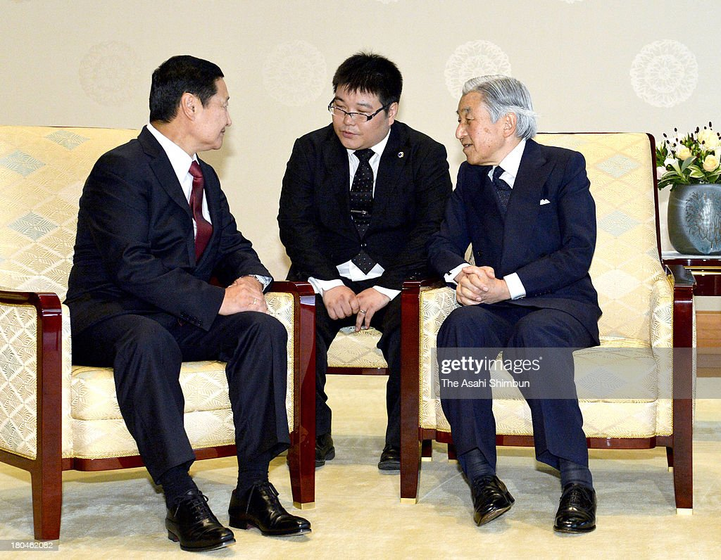 Emperor Akihito (R) and Mongolian Prime Minister Norov Altankhuyag (L) talk during their meeting at the Imperial Palace on September 13, 2013 in Tokyo, Japan.