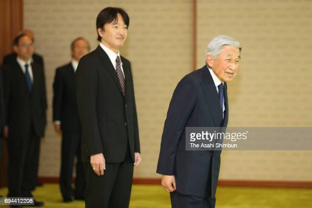 Emperor Akihito and Prince Akishino greet National Personnel Authority and Board of Audit officials prior to a luncheon at the Imperial Palace on...