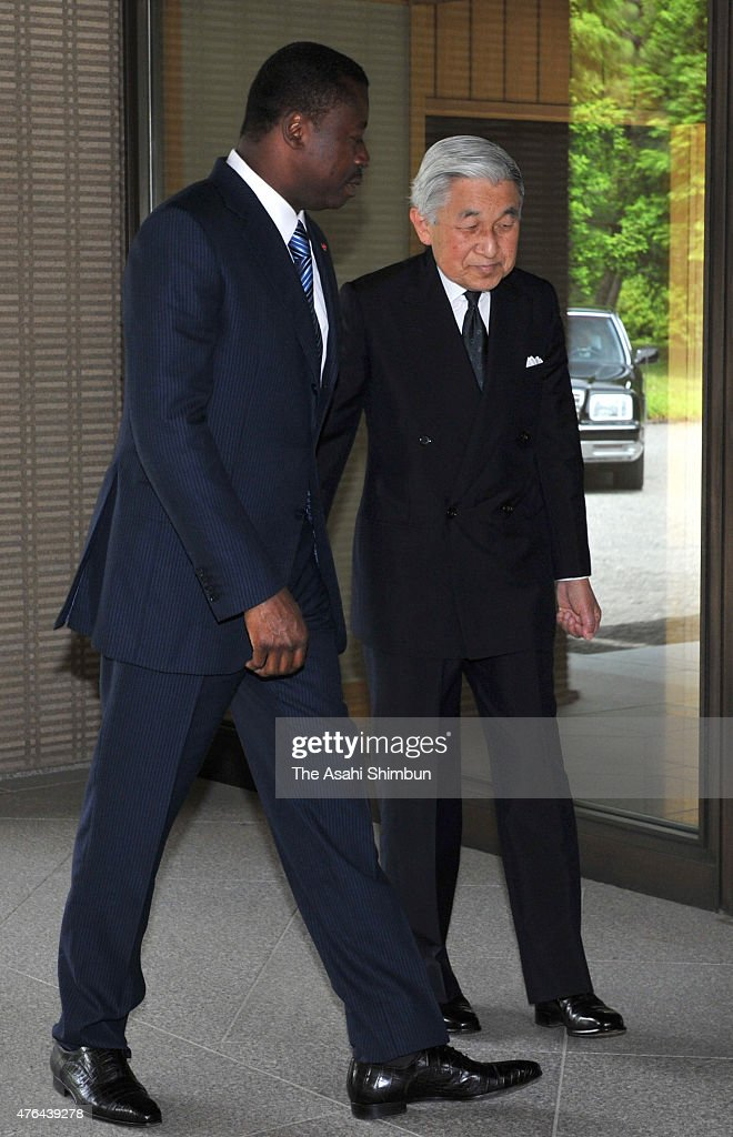<a gi-track='captionPersonalityLinkClicked' href=/galleries/search?phrase=Emperor+Akihito&family=editorial&specificpeople=14011468 ng-click='$event.stopPropagation()'>Emperor Akihito</a> (R) and Togo President Faure Essozimna Gnassingbe (L) greet prior to their meeting at the Imperial Palace on June 9, 2011 in Tokyo, Japan.