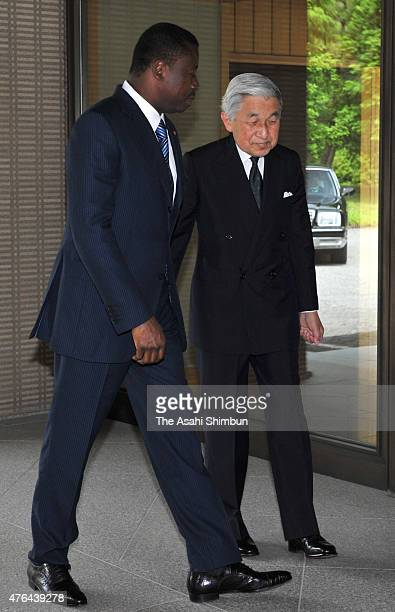 Emperor Akihito and Togo President Faure Essozimna Gnassingbe greet prior to their meeting at the Imperial Palace on June 9 2011 in Tokyo Japan