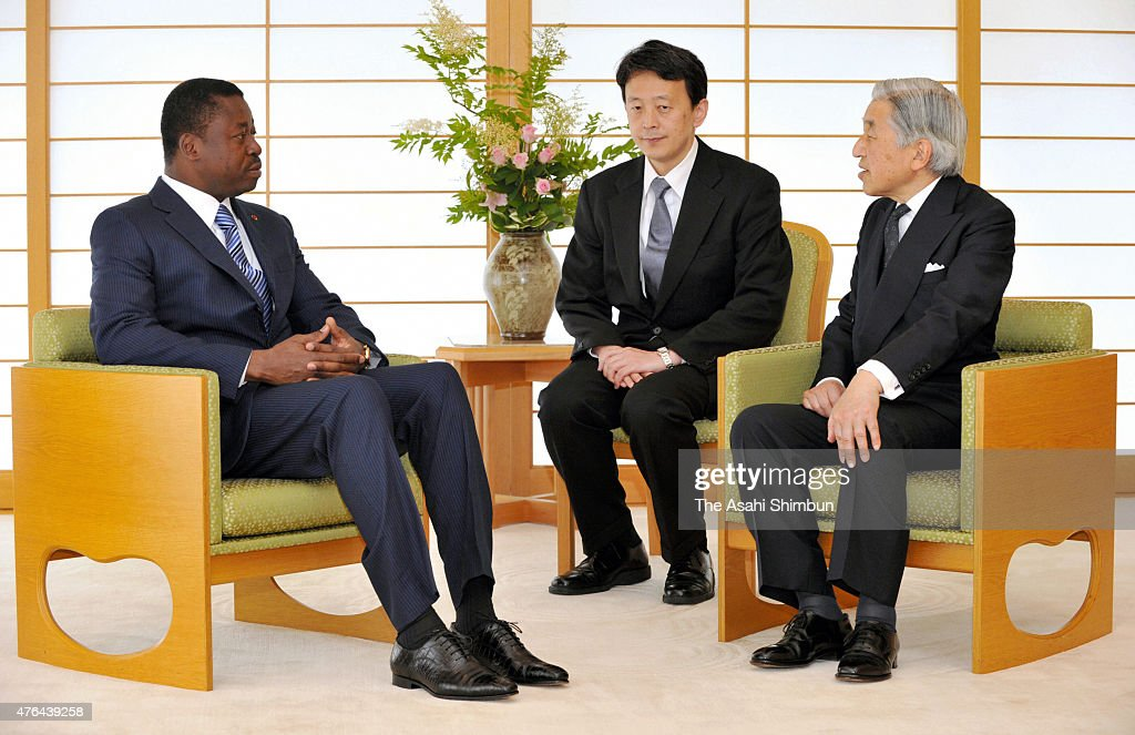 Emperor Akihito (R) and Togo President Faure Essozimna Gnassingbe (L) talk during their meeting at the Imperial Palace on June 9, 2011 in Tokyo, Japan.