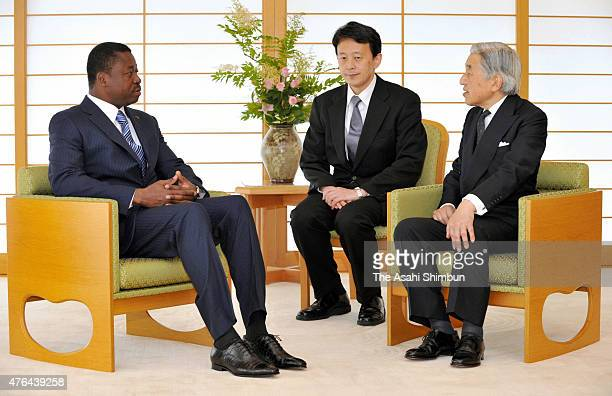 Emperor Akihito and Togo President Faure Essozimna Gnassingbe talk during their meeting at the Imperial Palace on June 9 2011 in Tokyo Japan