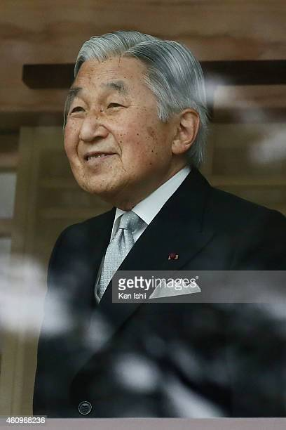 Emperor Akihito attends the celebration for the New Year on the veranda of the Imperial Palace on January 2 2015 in Tokyo Japan