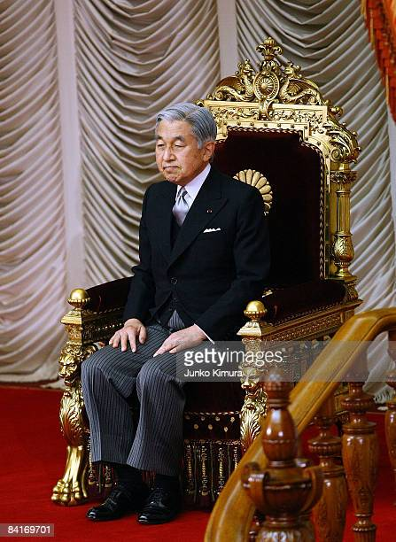 Emperor Akihito attends the opening ceremony to deliver a speech to open the 171st Ordinary Diet session at thethe Upper House on January 5 2009 in...