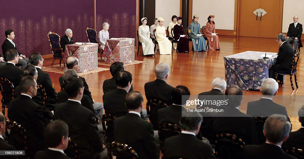 Emperor Akihito (C-L), <a gi-track='captionPersonalityLinkClicked' href=/galleries/search?phrase=Empress+Michiko&family=editorial&specificpeople=158725 ng-click='$event.stopPropagation()'>Empress Michiko</a> (C-R) and members of royal family attend 'Kosho Hajime no gi' or first lecture of the year ceremony, at the Imperial Palace on January 10, 2013 in Tokyo, Japan.