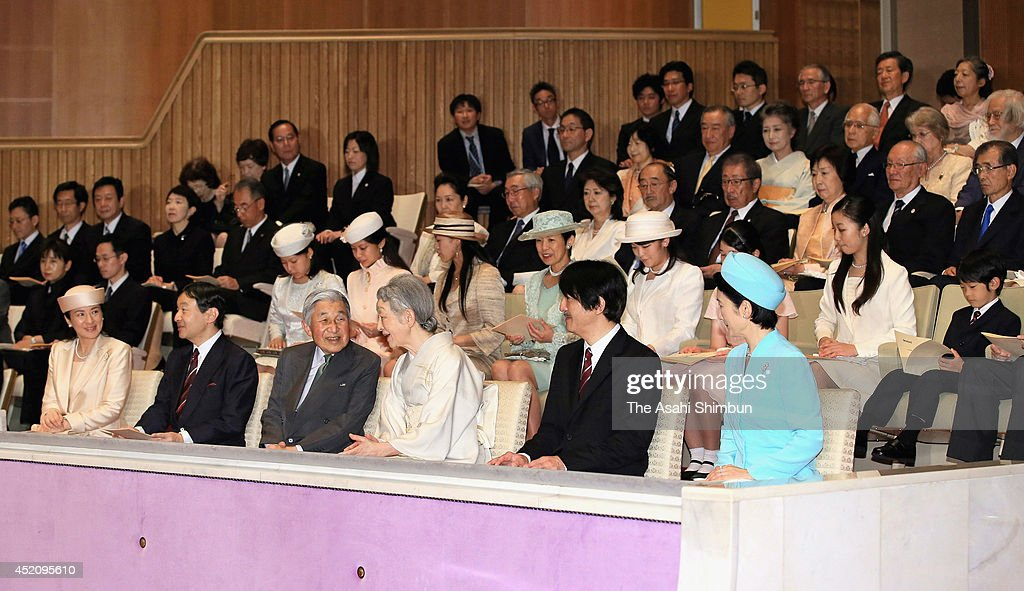 Emperor Akihito (front row, 3rd L), <a gi-track='captionPersonalityLinkClicked' href=/galleries/search?phrase=Empress+Michiko&family=editorial&specificpeople=158725 ng-click='$event.stopPropagation()'>Empress Michiko</a> (front row, 3rd R) and royal family members attend the Japanese folklore show at the Imperial Palace on July 13, 2014 in Tokyo, Japan. The show is hosted by <a gi-track='captionPersonalityLinkClicked' href=/galleries/search?phrase=Empress+Michiko&family=editorial&specificpeople=158725 ng-click='$event.stopPropagation()'>Empress Michiko</a> to celebrate the Emperor's 80th birthday.