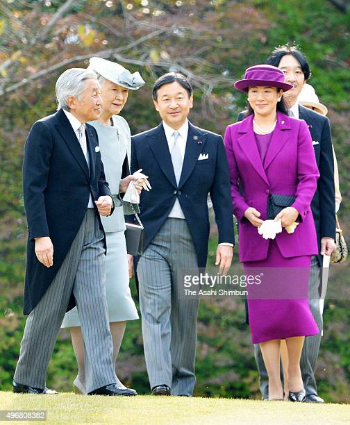 Emperor Akihito Empress Michiko Crown Prince Naruhito and Crown Princess Masako attend the Autumn Garden Party at the Akasaka Imperial Gardens on...